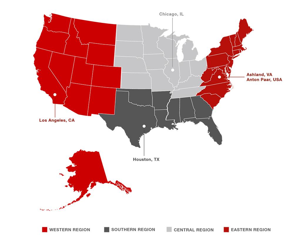 Regionale Struktur von Anton Paar USA :: Anton-Paar.com