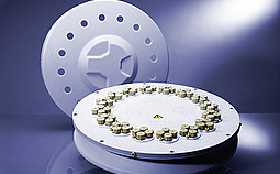 The Rotor 64MG5 is specially designed for high throughput and library generation and development in gram scale. Its reliable setup features 64 disposable glass vials arranged in 16 groups of four. Proper sealing with modified screw caps allows the use of 5 mL standard vials for reaction conditions of 200 °C and 20 bar.