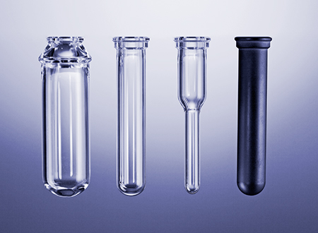 Reaction vials Monowave 300 from left to right: G30, G10, G4, C10.