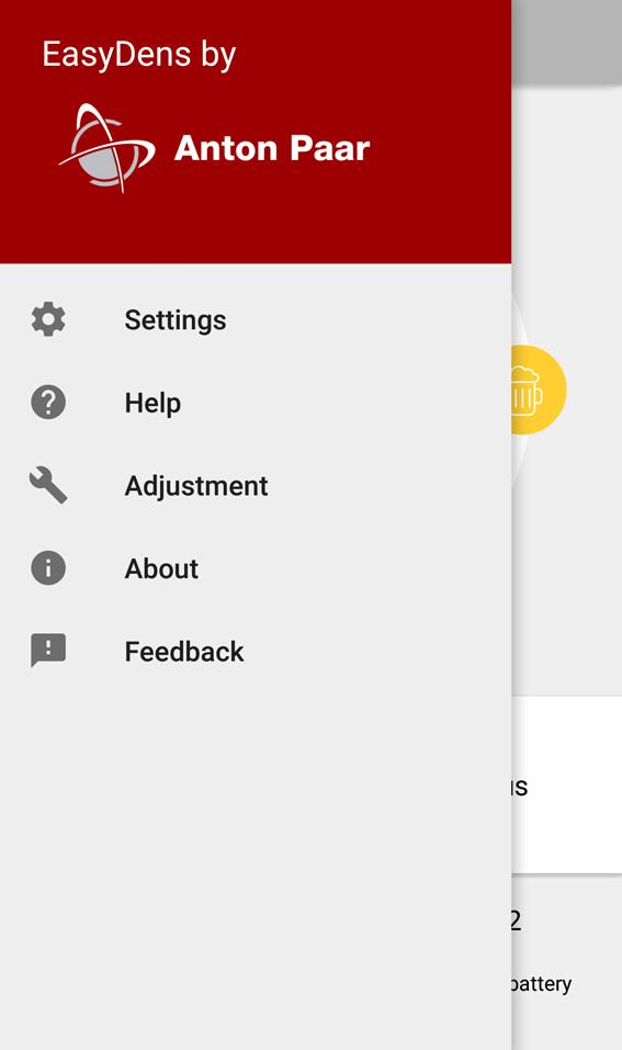 EasyDens app – menu screen