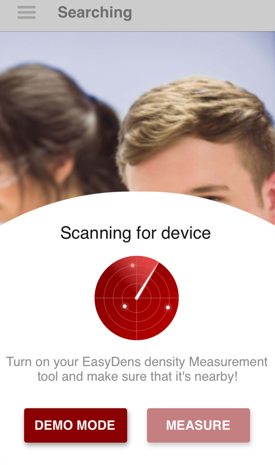 The EasyDens app scanning for instruments
